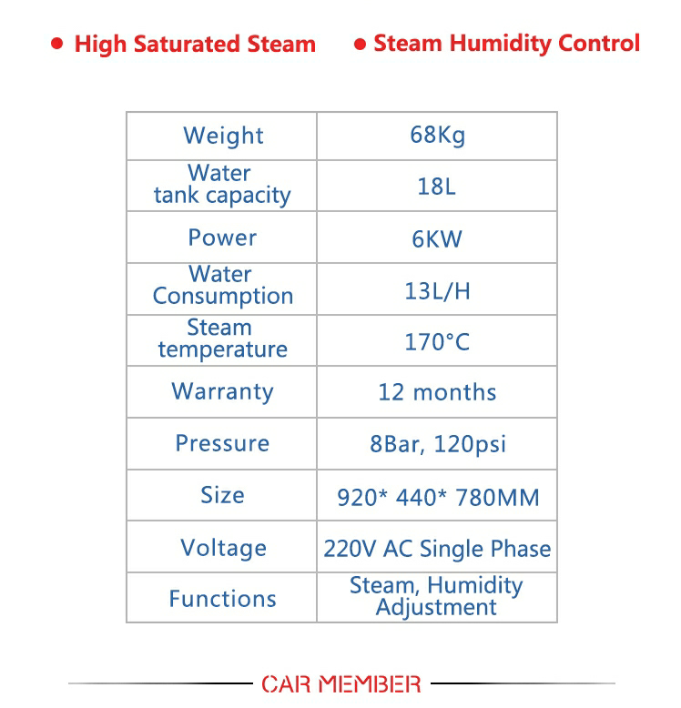 Steam cleaner specifications