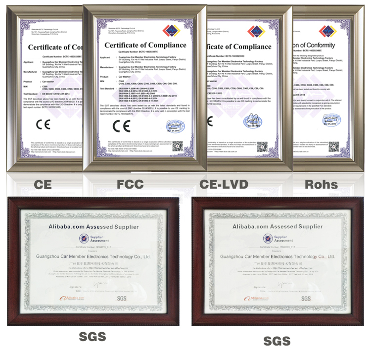 Commercial Car Wash Equipment Certificates